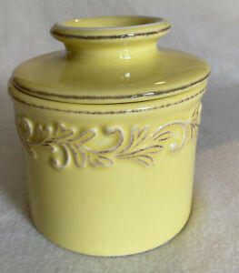 """L. Tremain Original Butter Bell Crock: Yellow embossed made  2009 """" Excellent"""""""