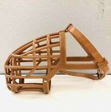 Italian Basket Dog Muzzle, Tan- Size 8 - Plastic with Leather Straps