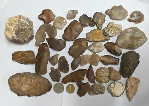 800 Grams NEOLITHIC & PALEOLITHIC Stone age Tools and Artifacts (#A1054)