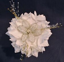 Wedding Bouquet French Beaded Flower White Roses Beads Bridesmaid