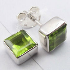 925 Solid Silver Unseen GREEN PERIDOT Square Studs CHARMING Earrings 0.7 CM NEW