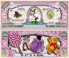 FAIRE PART NAISSANCE FILLE ORIGINAL : BILLET collection MILLION DOLLAR US ! BEBE