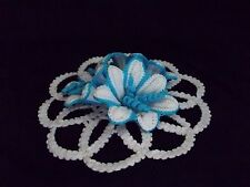 1 hand crocheted crochet 3D doily flowers  water lily 14,5cm 5,7 inches