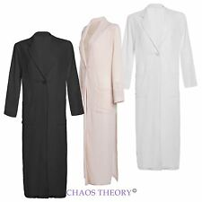 Ladies Womens Maxi Long Sleeve Duster Coat Chiffon Jacket Trench Side Split