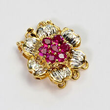 14k Solid Yellow Gold Natural Ruby Diamond Clasp With 6 Rings