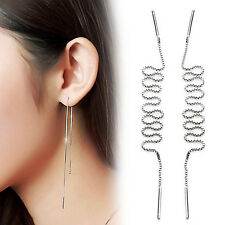 Fashion Womens 925 Sterling Silver Long Ear Chain/Link Drop/Dangle Stud Earrings