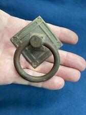 Antique Eastlake Drop Ring Pull Handle Furniture Hardware Great Dark Aged Patina