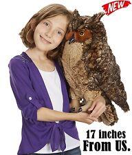 Giant Animal Stuffed Owl Plush Realistic Soft Hug Doll For Kid 17 Inch Big Bird