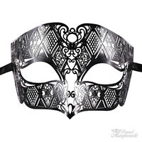Black Masquerade Mask, Metal Laser Cut Venetian Masquerade Mask for Men