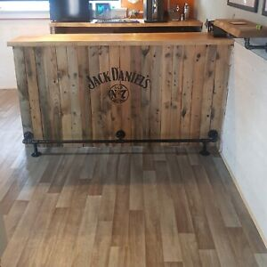 """Bar/kitchen foot rail made from industrial galvanise iron in 3/4"""" Pipe"""