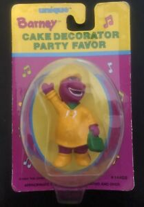 Vintage BARNEY Dinosaur Yellow Coat Cake Decorator Party Favor Figure #14402 NIP