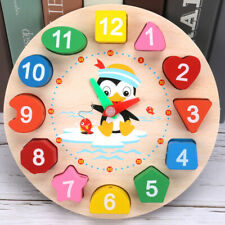Wooden Clock Toy Puzzle Toddler Baby Kid Educational Learning Play Toys Creative