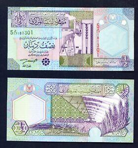 LIBYA - 2002 Half Dinar UNC Banknote