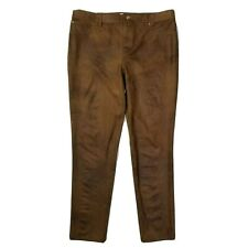 Chicos Pants Womens Size 2 Large 12 Brown Faux Suede Faux Front Pockets Slim Fit