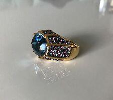 New KENNETH J LANE Blue Crystal Statement Cocktail Ring Adjustable