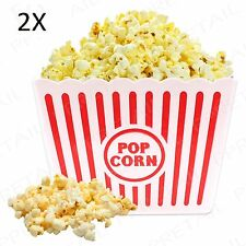 2x Traditional~SHARE SIZE~Stripe Popcorn Bowl Tub Holder Movie Night Party Sweet