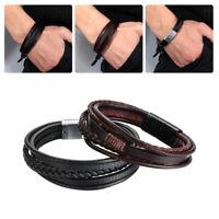 Geschenk Braun Schwarz Handgeweben Mehrschichtige Schnabel Armband aus Leder