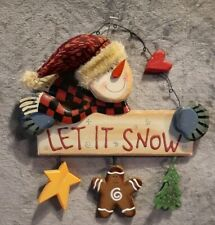 """Let It Snow"" Snowman Door Wall Hanging Sign Decor"
