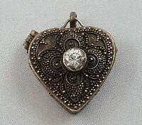 Antique Vintage 925 Sterling Silver Rhinestone Heart Shaped Pill Box Pendant