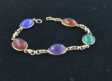 #BW300    14KGOLD   VINTAGE SCARAB BRACLET WITH BEAUTIFUL CARVED STONES