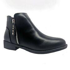 WOMENS LADIES BLACK ANKLE BOOTS BOOTIES LOW BLOCK HEELS FLAT ZIP SHOES SIZE