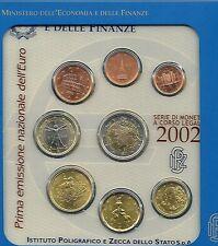 ITALIA EURO Coin Set 2002 CARTELLA UFFICIALE tutte le monete 1 CENTESIMI a 2 € NUOVO bunc