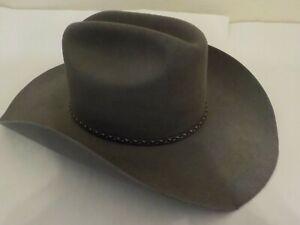 Men's RESISTOL Western Hat, Granite Grey, Sz 7 1/8 Long Oval, George Straight