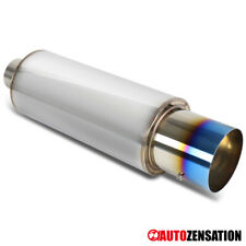 """2.5"""" Inlet/4"""" Titanium Wide Burn Burnt Tip Exhaust Muffler w/ Silencer"""