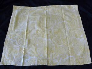 Ralph Lauren Standard Pillow Sham Pair Paisley Floral Yellow White Cotton