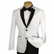VINCI Men's White Sharkskin 2 Button Shawl Lapel Slim Fit Tuxedo Suit NEW
