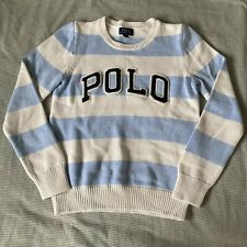 Polo Ralph Lauren Boys Blue Cream Stripe Knit Jumper Size Large 12-14 years