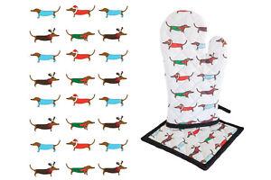 Xmas Dachshund Dog Cotton Pot Mitt & Oven Glove & Teal Towel
