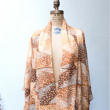 Vintage 1940's Orange & Brown Traditional Japanese Patterned Long Kimono 57.50""
