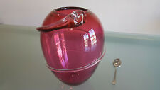 VINTAGE ART GLASS VASE, BY HOGLUND, BIG, 21cm. RED, THIS IS A STAND OUT PIECE !