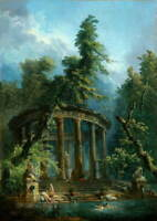 Hubert Robert Bathing pool Poster Reproduction Paintings Giclee Canvas Print