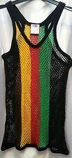 MEN'S New 100% Cotton Mesh String Vest Rasta Colours Sports Gym African Style