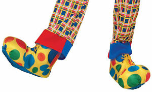 ADULT POLKA DOTTED CLOWN SHOES FEET SHOE COVERS COSTUME ACCESSORY FM63920