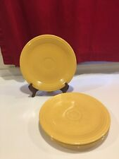 "Four yellow Fiestaware 9 1/2"" luncheon plates.  Great condition."