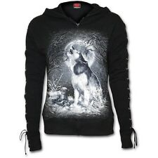 Spiral Direct White Wolf Women's Lace up Full Zip Glitter Hoodie Black 2xl
