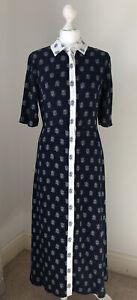 Flattering M&S Full length Long Tea Dress, Fitted, Size 8, Navy