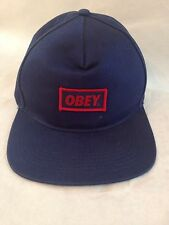 OBEY Blue Embroidered Patch Snapback Hat Cap