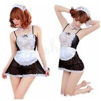 Sexy Womens Lingerie Nightwear Maid Cosplay Babydoll Sleepwear Dresses G-string