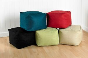 FILLED BEAN CUBE FOOTSTOOL / POUFFE / BEANBAG Faux Suede Kids Seating footrest