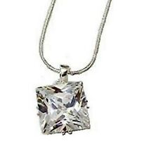 Silver Square CZ Cubic Zirconia Crystal Stone Necklace Pendant Chain Women Girls