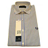 Camicia Fred Perry Uomo Men shirt collo italiano righe  slim fit v0044