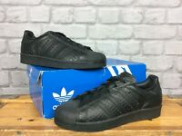 ADIDAS LADIES UK 4 1/2 EU 37 1/2 BLACK SNAKESKIN SUPERSTAR TRAINERS RRP £75