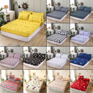 Cartoon Floral-Printed Fitted Sheet Single Double Polyester Bed Sheet Cover