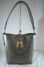 RARE NWT $298 Dooney & Bourke Ostrich Brynn Bucket Shoulder Bag Pewter brown