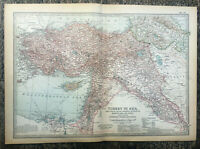 Antique Map Of Turkey In Asia Minor Armenia Kurdistan Syria Cyprus Beirut  1903