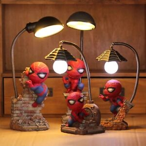 Cartoon Avengers Action Figures Spider Man Night Lamp Resin Children Bedroom LED